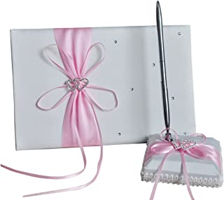 he andi 1 Wedding Guest Book + 1 Pen Set Decor Red Ribbon Bowknot, Double Heart Diamante Crystal Rhinestone Buckle (Pink)