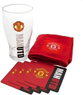 man united pint glass