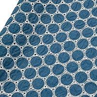 新しいカラーサークルコットンフル刺繍生地衣類アパレル生地ファッションレースビッグサッカー W709 (Color : Blue, Size : 4m)
