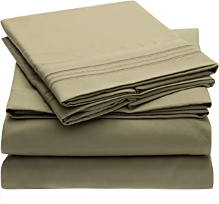 Mellanni 1800 Bedding Wrinkle, Fade, Stain Resistant Hypoallergenic Brushed Microfiber 4 Piece Queen Bed Sheet Set, Olive Green