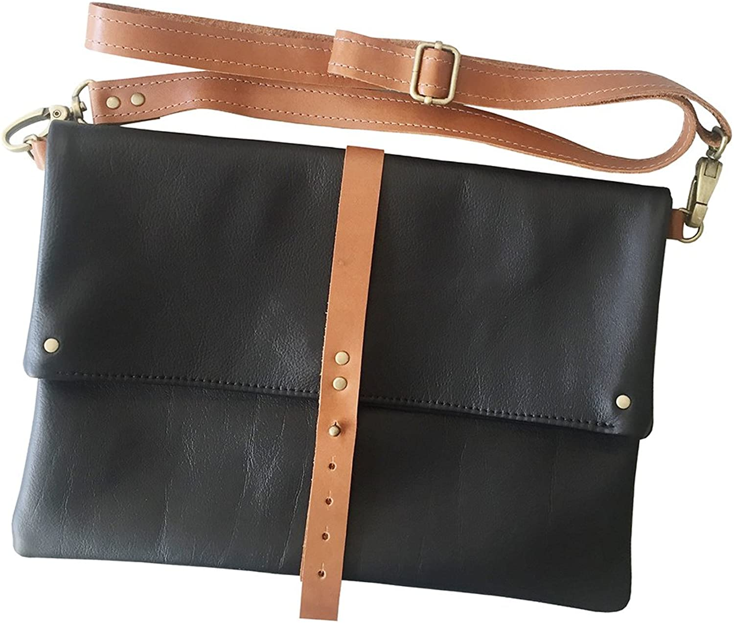 TCLA Handmade Foldover Crossbody in Black  Made in Los Angeles