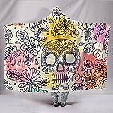 CICIDI Paster Sugar Skull, manta con capucha, con capucha, festival, floral, manta vegana, espiritual, felpa sherpa polar, manta para exteriores de 127 x 152 cm