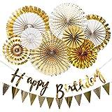 VCOSTORE Ventaglio di carta dorato Decorazioni floreali pendenti per articoli per feste (1...