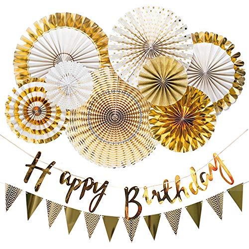 VCOSTORE Fans de papel y banner de feliz cumpleaños para suministros de fiesta de cumpleaños decoración (oro)