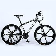 Novokart-Mountain Bike Unisex, Bicicletas montaña 21/24/27 Pulgadas, MTB para Hombre, Mujer, con Asiento Ajustable, Frenos de Doble Disco, Negro, 6 cortadores Rueda