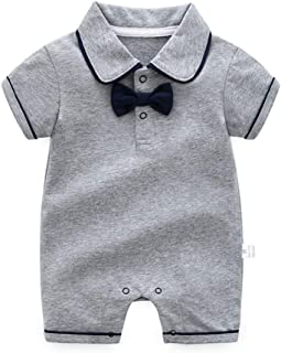 Baby Boy's Gentleman Romper Outfit Summer Short Sleeve Cotton Onesie Bodysuit with Bow Tie