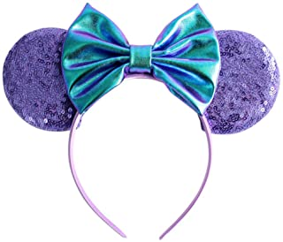 YanJie Mouse Ears Bow Headbands, Glitter Party Hot Pink Princess Decoration Cosplay Costume for Girls & Women