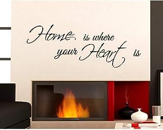 ADESIVI MURALI HOME IS WHERE HEART FRASI WALL STICKERS ADESIVO MURALE CASA Decorazione interni Aforisma Stickerdesign