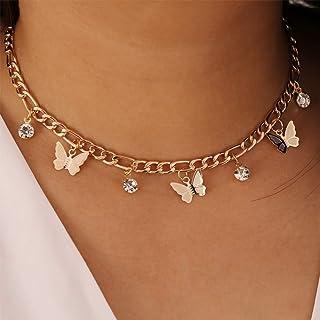 Handcess Boho Crystal Collane Collana girocollo con farfalla in oro Collana con nappa punk per donne e ragazze