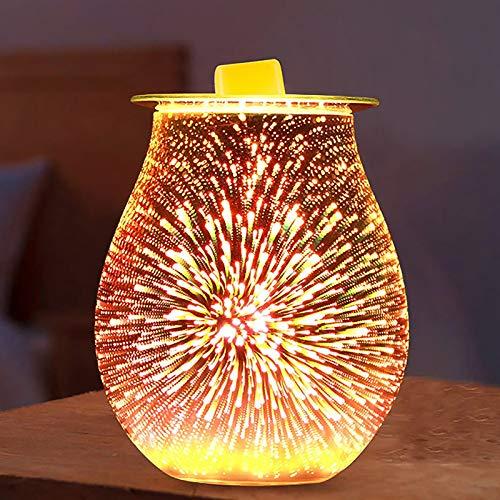 Konesky Lampe Darôme De Feu Dartifice, Lampe De Parfum En Verre électrique 3d Veilleuse Effet Feu Dartifice Brûleur Dhuile Essentielle De Réchauffeur De Fonte De Cire De Cylindre