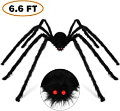 Halloween Decorations Outdoor Décor Giant Spider 6.6FT 200cm, Halloween Decoration Large Scary Furry Spiders - Black