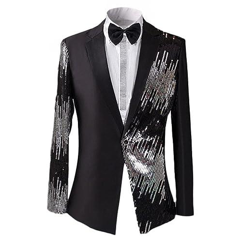 9a23906f54d1f7 Men s 2-Piece Suit Casual One Button Slim Fit Blazer Coat Stylish Sequin