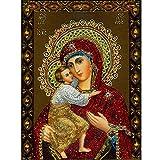 5D DIY Kit de peinture au diamant, Vierge Marie et bébé Jésus Broderie en strass Ensemble de point croisé Artisanat complet...