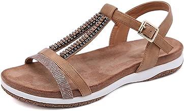 WECDS Dames Sandales Chaussures Plates Talons compensés Orteils Ouverts Pas de Compression en Cuir à Talons Hauts Pantoufl...