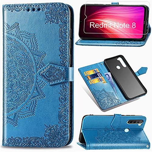 Funda para Xiaomi Redmi Note 8 2019/2021 + Protector de Pantalla Cristal Templado, Carcasa Libro con Tapa Flip Case Antigolpes PU Cuero Suave Soporte con Correa Cordel - Mandala Azul