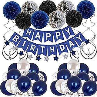 Birthday Party Decoration set, Night Blue Theme Party Set, Party supplies kit, latex balloons, Star Banner, Decoration set...
