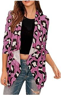 ouxiuli Women's Open Front Leopard Knit Cardigan Sweaters Long Sleeve Outwear