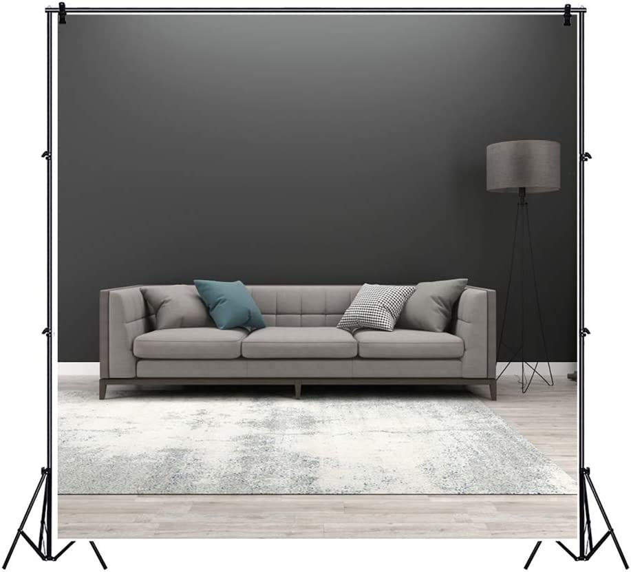 Leowefowa 3D Rendering Minimalism Style Living Room Interior Backdrop 6.5x6.5ft Khaki Sofa Mottled Carpet Brown Stand Lamp Vinyl Photography Background Child Adult Clothes Photo Booth Studio Props