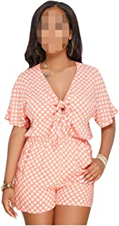 Loose Womens Rompers Jumpsuit Bandage V Neck Bodies Short Sleeve One Piece Playsuit Women