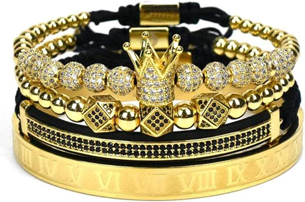 Imperial Crown Ranking TOP13 King 18K Gold CZ Fash Choice Luxury Charm Beads Bracelet