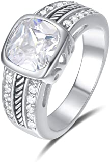 Quiges Classic and Fashion Ring made of 925 Sterling Silver with Crystal Zirconia Stones in different sizes and models