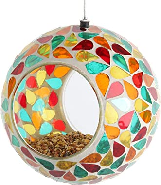 Lily's Home Hanging Outdoor Fly Through Wild Bird Feeder, an Excellent Addition to Any Garden, Mosaic. 5.5 Inches Diameter -