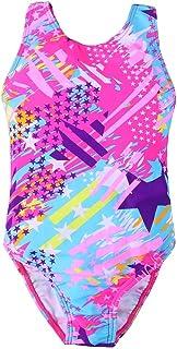 CM C&M WODRO Girl's Swimsuit One Piece Beach Sport Swimwear Backless Racerback Star Print Toddler Kids Bathing Suit