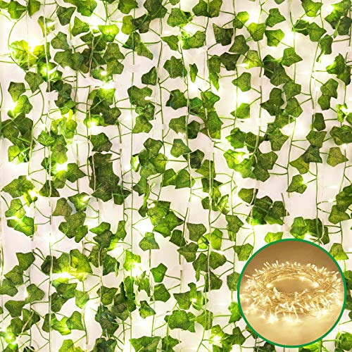 WAPETASHI Fake Vines Artificial Ivy 135.8 Ft 18 Pcs, 150 LED 49.2 ft Light Decor Faux Green Hanging Plant Greenery for Wall Party Wedding Room Home Kitchen Indoor & Outdoor Decoration