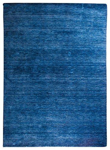 Morgenland Gabbeh Teppich Blau UNI Einfarbig Handgewebt Schurwolle 60 x 40 cm Fußmatte