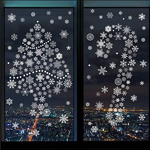 380 Pezzi Adesivi Murali di Natale Fiocco di Neve Bianco Finestra del Fiocco di Neve Decorazioni Adesivi per Decalcomanie per Finestre di Natale per Natale di Tema di Inverno di Nuovo Anno, 12 Fogli