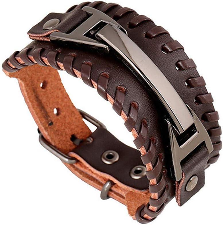Fashion DONGMING Punk Braided Dedication Rope Alloy Adjustable Cuff PU Brac Leather
