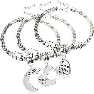 3pcs Big Sis Middle Sis Little Sis Love Heart Charm Pendant Bracelet Set Family Jewelry Gift for Sister