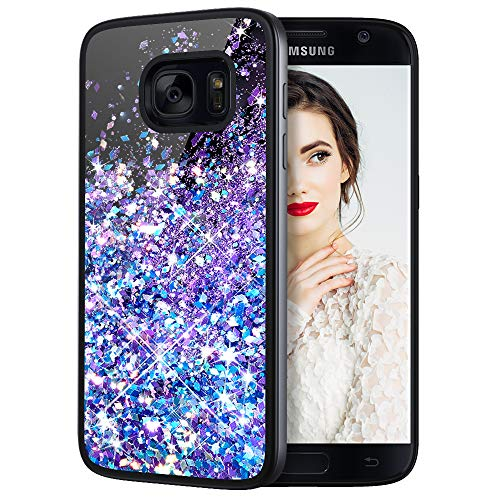 Galaxy S7 Case, Caka Galaxy S7 Glitter Case Starry Night Series Luxury Fashion Bling Flowing Liquid Floating Sparkle Glitter Girly Soft TPU Case for Samsung Galaxy S7 (Blue Purple)