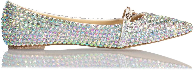 Lacitena Women's Wedding Flat shoes,Rhinestones Pointed Toe Flat shoes,Ballet shoes Bridal Flats