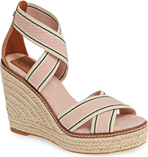 b817be70ee6 Tory Burch Women s Frieda Blush Strappy Woven Espadrilles Wedge Platforms