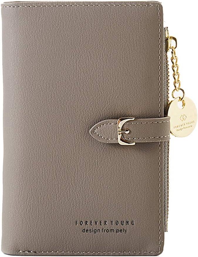 Women's RFID Blocking Short Purse PU Leather Medium Clutch Wallet Bifold Card Coin Holder Organizer Small Lady Purse (gray)