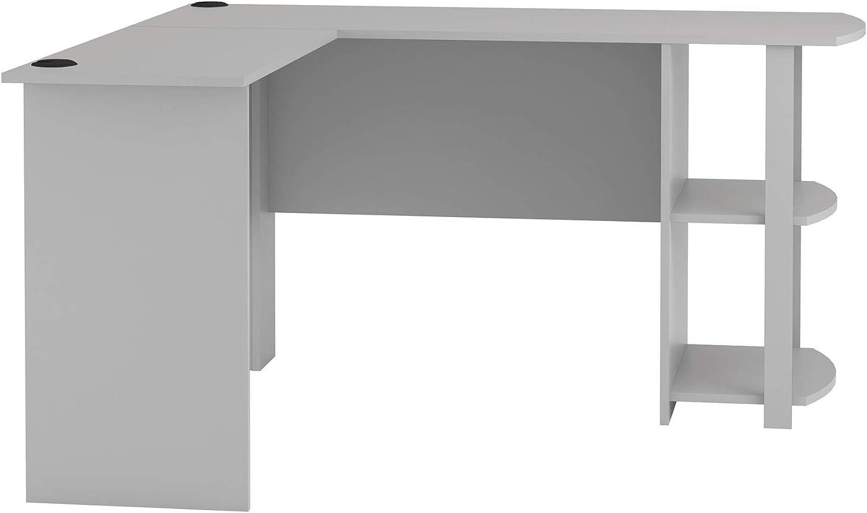 Ameriwood Home Nashville-Davidson Mall Dakota L-Shaped Desk Bookshelves Courier shipping free shipping with Gray Dove
