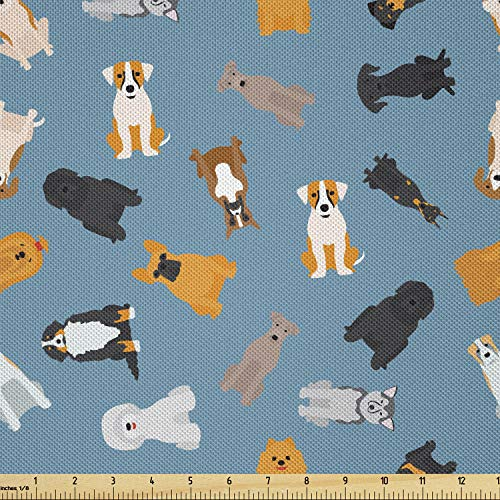 Lunarable Cartoon Fabric by The Yard, Style Dogs Breed French Bulldog Beagle Golden Retriever Pets Graphic Art, Decorative Satin Fabric for Home Textiles and Crafts, 1 Yards, Teal Black