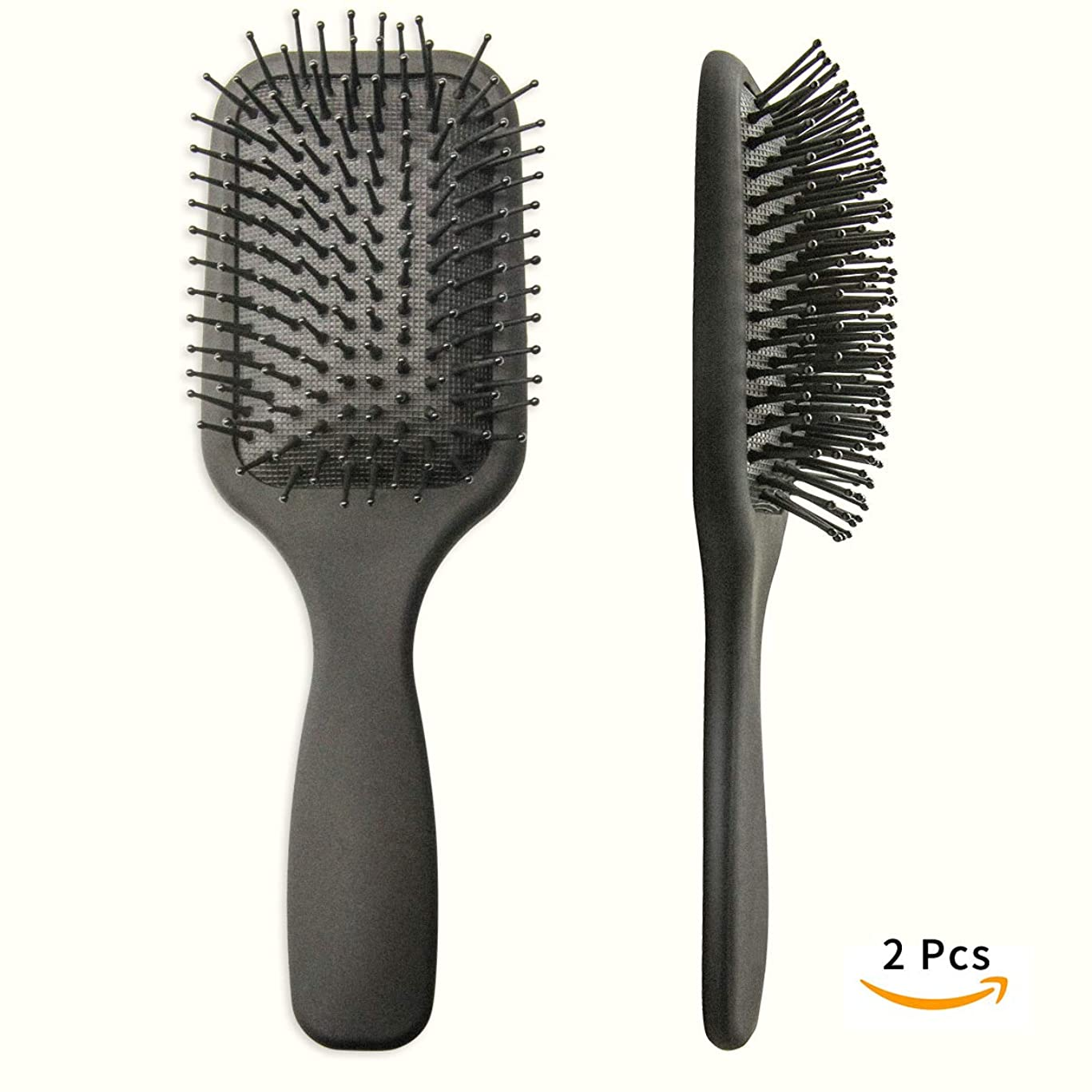 hiLISS 2 PCS Pro Paddle Brush With Nylon Round Head Pins,Cushioned brushes helps prevent damage like tearing and splitting, Improve hair Texture. (Matte Black)