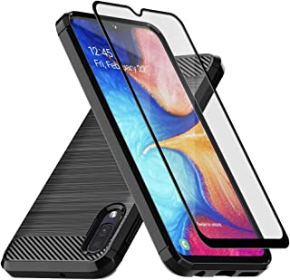Samsung Galaxy A10E Case,Muokctm with Tempered Glass Screen Protector, Slim Soft TPU Protective Rubber Bumper Case Cover for Samsung Galaxy A10E Phone (Black)