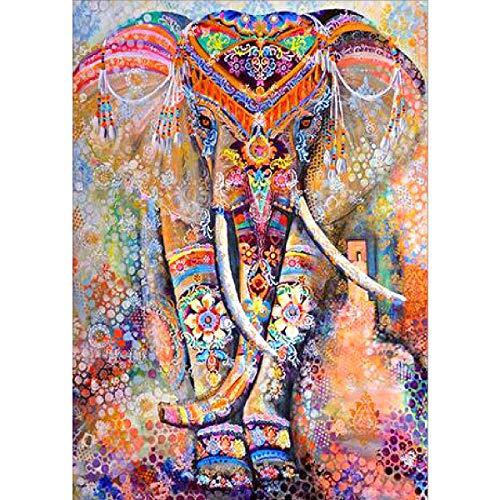 Kit de pintura por número 5D con diamantes imitación de elefante colorido...