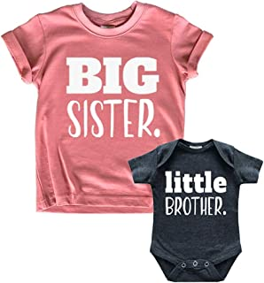 Big Sister Little Brother Outfit Matching Shirts Sets...