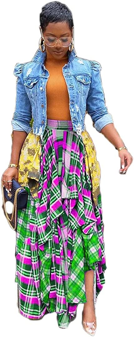 Pulkritu Women Irregular Maxi Skirts - Vintage Patchwork Plaid Long Skirt (Green,Large)