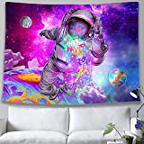 pinata Space Trippy Tapestry Astronaut Galaxy Psychedelic Tapestry Colorful Jellyfish Hippie Purple Star Tapestry Wall Hanging for Teen Man Guy Bedroom Colleage Dorm Planet Large Tapestry 59x83 Inches