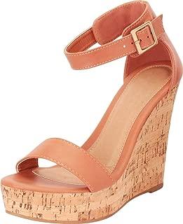 Cambridge Select Women's Single Band Ankle Strap Chunky Platform High Wedge Sandal
