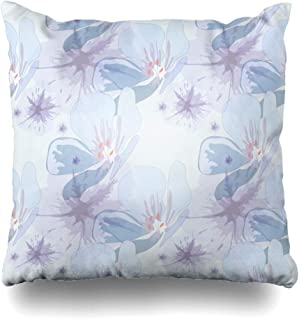 Ahawoso Throw Pillow Covers Drawing Raster Modern Colors Pastel Abstract Watercolor Pattern Cambric Floral Flower Design Zippered Pillowcase Square Size 16 x 16 Inches Home Decor Cushion Case