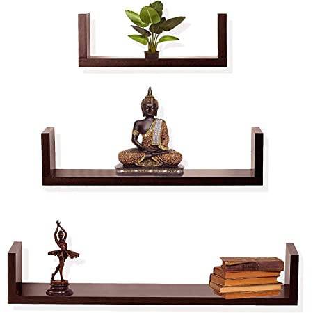 Dime Store Engineered Wood Glossy Wall Mount Floating Hanging Shelf Rack Display for Room Wall and Home Decor Items and Storage Organizer (Standard, Brown) - Set of 1