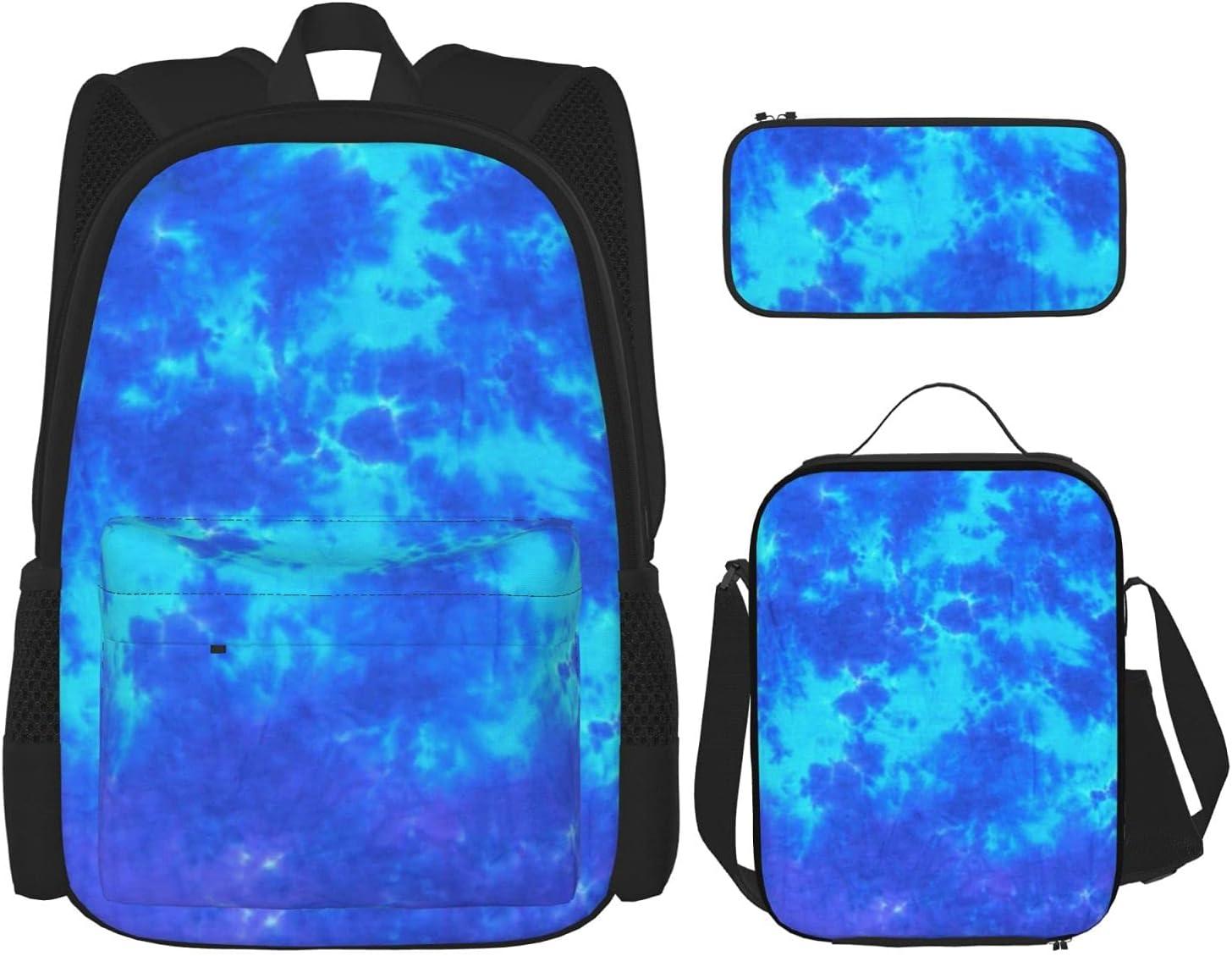 Inexpensive Blue Tie Dye Backpack Boys Children School Book 3-In-1 Credence Bag S