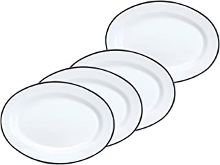 Crow Canyon Enamelware Oval Dinner/Salad/Serving Plates, Classic Tableware - Set of 4 - Solid White with Black Rim Color, 12 Inches x 8.75 Inches