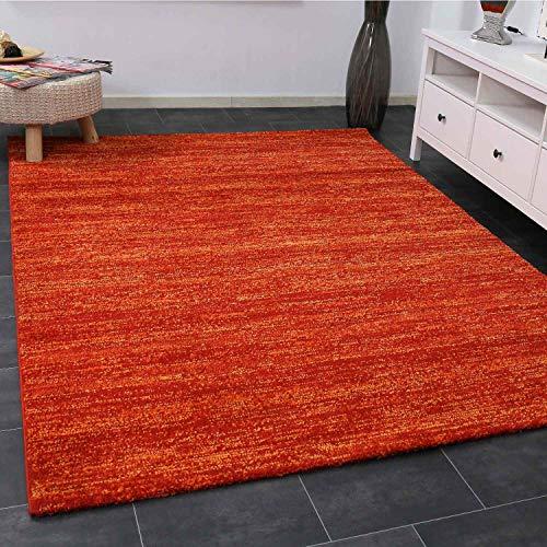 VIMODA Teppich Modern Terra Rot Kurzflor Meliert Farbecht Pflegeleicht, Maße:80 x 150 cm